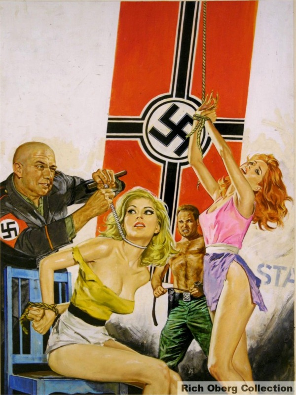 pulp magazine cover with two men torturing two women, with Nazi flag in the background